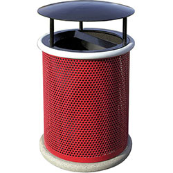 MF3006 Classic Steel Waste Container with Aluminum Ash-n-Trash Lid with Rain Hood