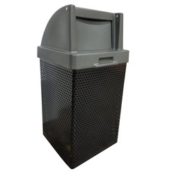 MF3052 QS Wausau Steel Waste Container with Plastic Push Door Top
