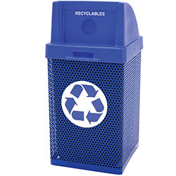 MF3058 Wausau Steel Waste Container with Plastic Recycle Top