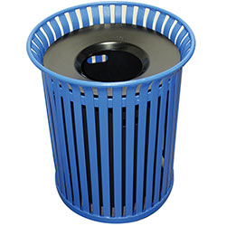 MF3200 Flat Steel Trash Receptacle with Aluminum Funnel Top