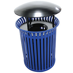 MF3203 Flat Steel Trash Receptacle with Aluminum Funnel Top with Rain Hood