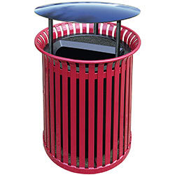 MF3206 Flat Steel Trash Receptacle with Aluminum Ash-n-Trash Top and Rain Hood