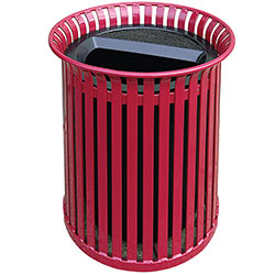 MF3210 Flat Steel Trash Receptacle with Aluminum Ash-n-Trash Top