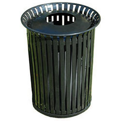 MF3212 Flat Steel Trash Receptacle with Aluminum Pitch-In Top