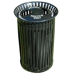 MF3226 Flat Steel Trash Receptacle with 2 Hole Recycle Top