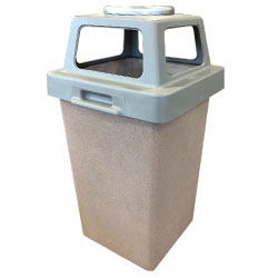 TF1009 Concrete Trash Receptacle with 4-Way Plastic Top and Snuffer Pan