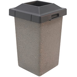 TF1010 Concrete Trash Receptacle with Pitch-In Plastic Top