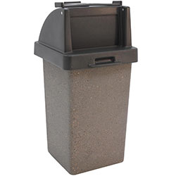 TF1020 Concrete Trash Receptacle with Tray Caddy Plastic Top
